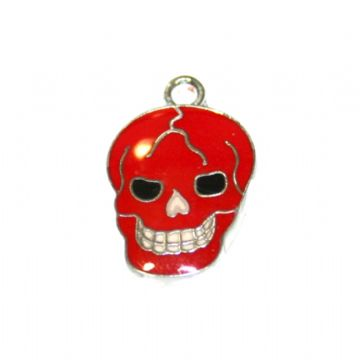1pce x 16*12mm Rhodium plated red skull enamel charms - S.D03 - CHE1195